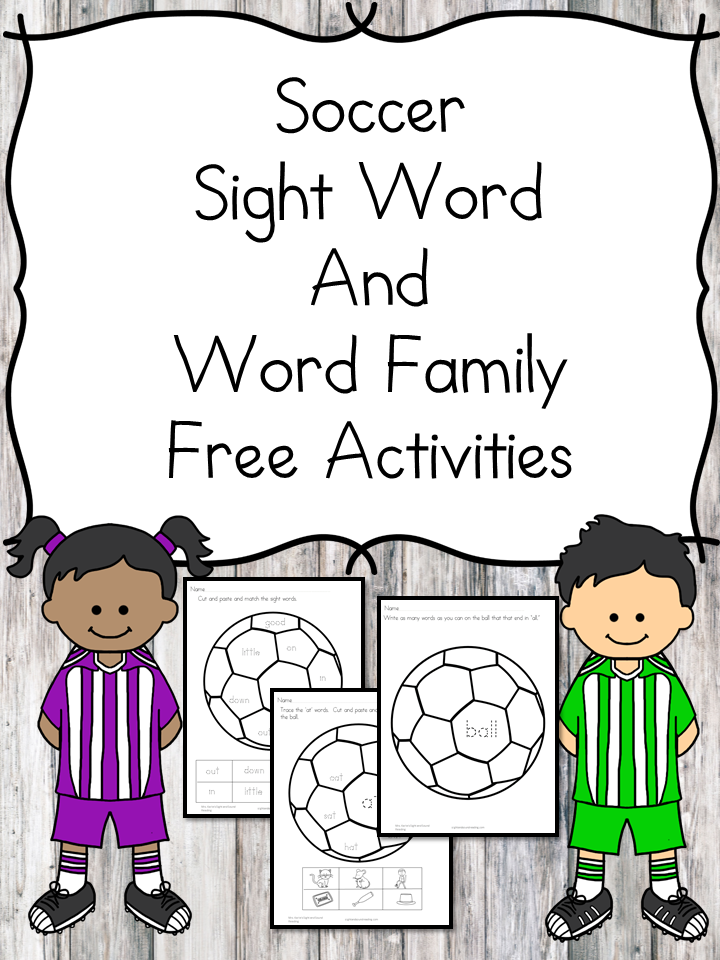 Soccer Sight Word and Word Family worksheets -great for kindergarten to help make learning fun!