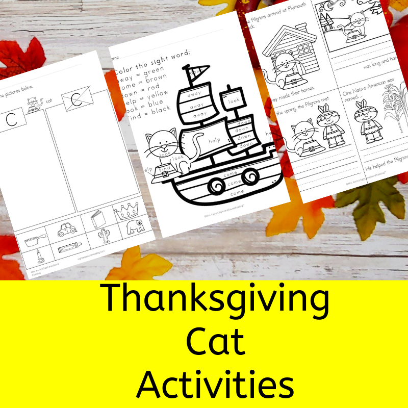 Thanksgiving Cat Activities for Kindergarten