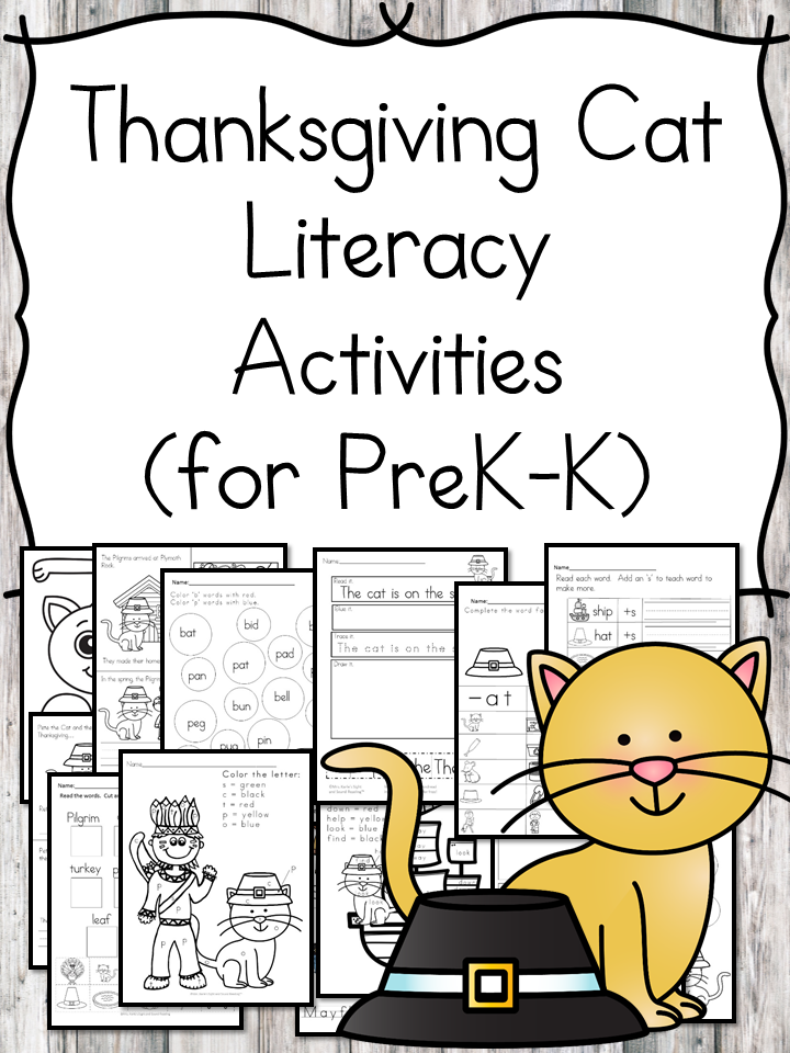 Thanksgiving Cat literacy activities for Kindergarten