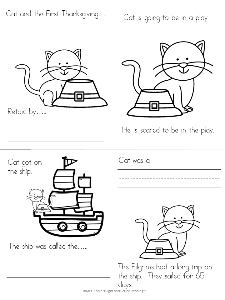 Thanksgiving Cat literacy activities for Kindergarten