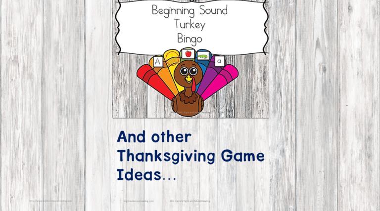 Beginning Sound Turkey Bingo and other Thanksgiving Game Ideas