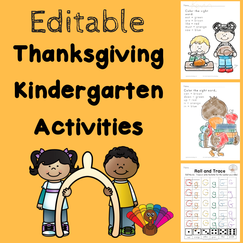 Thanksgiving Activities Pack for Kindergarten
