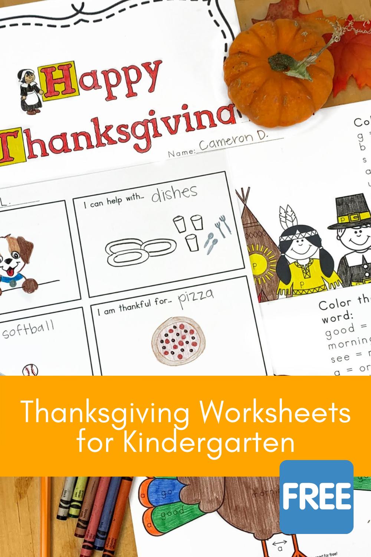 Thanksgiving Worksheet for Kindergarten Kids