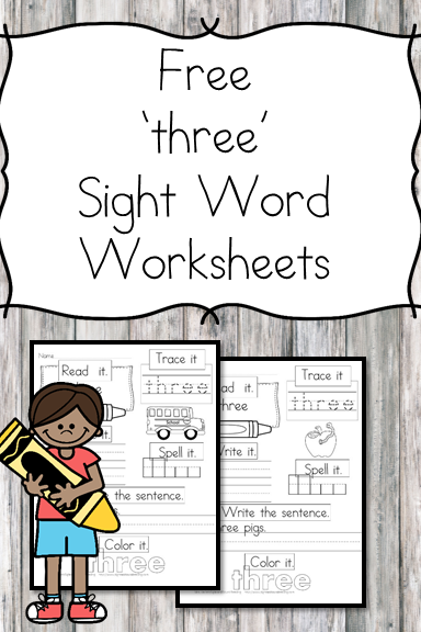 three Sight Word Worksheet -for preschool, kindergarten, or first grade - Build sight word fluency with these interactive sight word worksheets