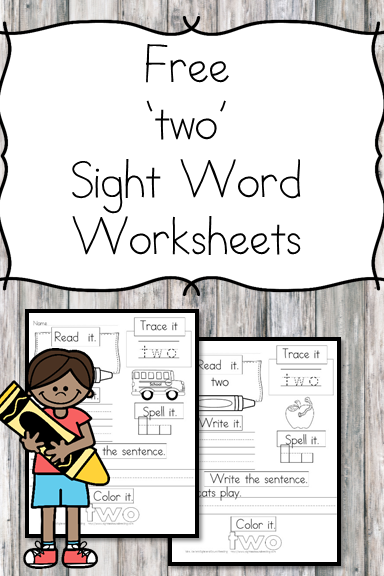 two Sight Word Worksheet -for preschool, kindergarten, or first grade - Build sight word fluency with these interactive sight word worksheets
