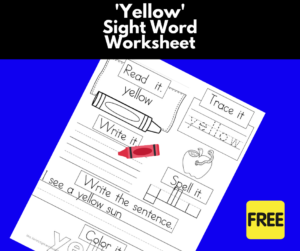 Yellow Sight Word Worksheet