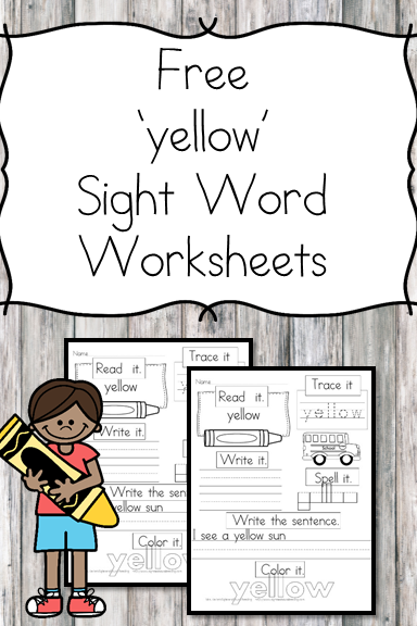 yellow Sight Word Worksheet -for preschool, kindergarten, or first grade - Build sight word fluency with these interactive sight word worksheets